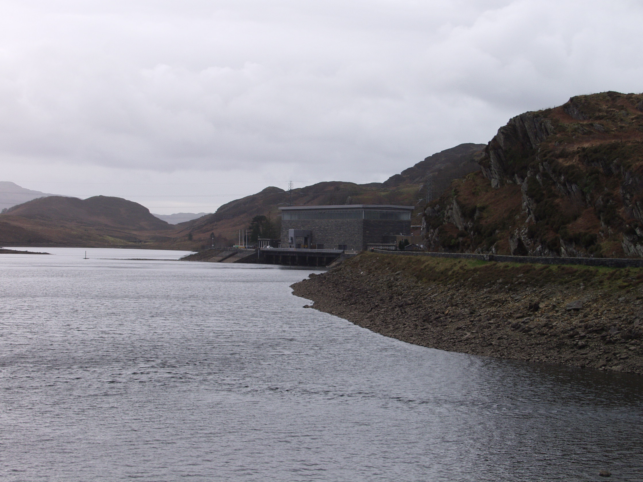 View of the Ffestiniog hydro station from the main road