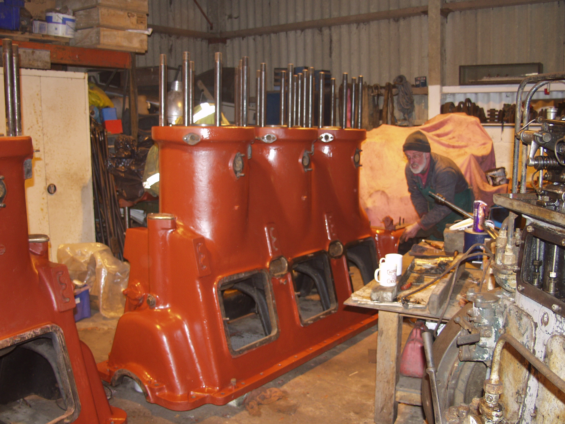 Both cylinder blocks in the museum workshop, January 2007